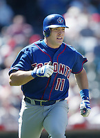 Eric Hinske of the Toronto Blue Jays runs the bases during a 2002 MLB season game against the Los Angeles Angels at Angel Stadium, in Anaheim, California. (Larry Goren/Four Seam Images)