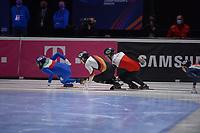 SPEEDSKATING: DORDRECHT: 06-03-2021, ISU World Short Track Speedskating Championships, RF 500m Men, Yuri Confortola (ITA), Christoph Schubert (GER), Michal Niewinski (POL), ©photo Martin de Jong