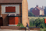 Miners strike Shirebrook Derbyshire UK 1984. Some miners left area or were forced out as they did not strike. Boarded up housing 1980s UK