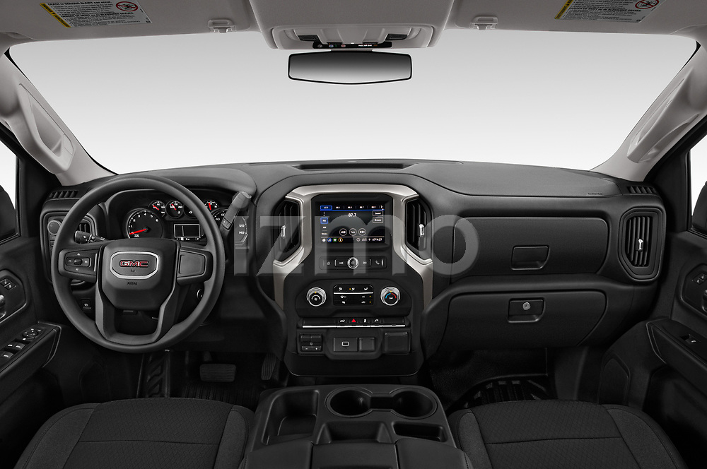 Stock photo of straight dashboard view of 2020 GMC Sierra-3500HD - 4 Door Pick-up Dashboard