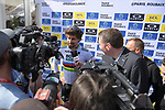 World Champion Peter Sagan (SVK) Bora-Hansgrohe talks to the media at the team presentation before the 116th edition of Paris-Roubaix 2018. 7th April 2018.<br /> Picture: ASO/Pauline Ballet | Cyclefile<br /> <br /> <br /> All photos usage must carry mandatory copyright credit (© Cyclefile | ASO/Pauline Ballet)