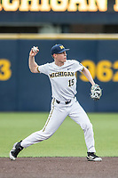 Michigan Wolverines second baseman Jimmy Kerr (15) warms up before the Big Ten baseball against the Maryland Terrapins on April 13, 2018 at Ray Fisher Stadium in Ann Arbor, Michigan. Michigan defeated Maryland 10-4. (Andrew Woolley/Four Seam Images)
