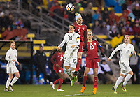 Columbus, Ohio - Thursday March 01, 2018: Dzsenifer Marozsán, Julie Ertz during a 2018 SheBelieves Cup match between the women's national teams of the United States (USA) and Germany (GER) at MAPFRE Stadium.