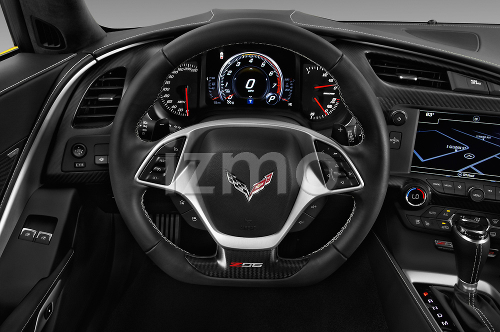 Car pictures of steering wheel view of a 2019 Chevrolet Corvette Z06 Coupe 1LZ 3 Door Targa