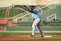 Hickory Crawdads first baseman Curtis Terry (29) fields a throw during the game against the Kannapolis Intimidators at Kannapolis Intimidators Stadium on May 6, 2019 in Kannapolis, North Carolina. The Crawdads defeated the Intimidators 2-1 in game one of a double-header. (Brian Westerholt/Four Seam Images)