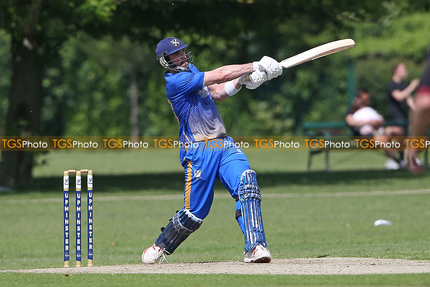 J Evans of Upminster hits out during Upminster CC vs Fives & Heronians CC, Hamro Foundation Essex League Cricket at Upminster Park on 5th June 2021