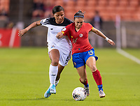 HOUSTON, TX - JANUARY 28: Hilary Jaen #4 of Panama fights for the ball with Priscila Chinchilla #14 of Costa Rica during a game between Costa Rica and Panama at BBVA Stadium on January 28, 2020 in Houston, Texas.