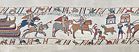 Bayeux Tapestry scene 40:  Norman soldiers ride to Hastings to make camp. BYX40