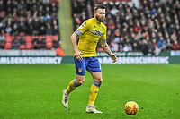 Leeds United's midfielder Stuart Dallas (15) during the Sky Bet Championship match between Sheff United and Leeds United at Bramall Lane, Sheffield, England on 1 December 2018. Photo by Stephen Buckley / PRiME Media Images.
