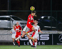 Maurane Marinucci (7 Standard)  and Lenie Onzia (8 OHL) battle for the ball during a female soccer game between Oud Heverlee Leuven and Standard Femina De Liege on the 10th matchday of the 2020 - 2021 season of Belgian Womens Super League , sunday 20 th of December 2020  in Heverlee , Belgium . PHOTO SPORTPIX.BE | SPP | SEVIL OKTEM