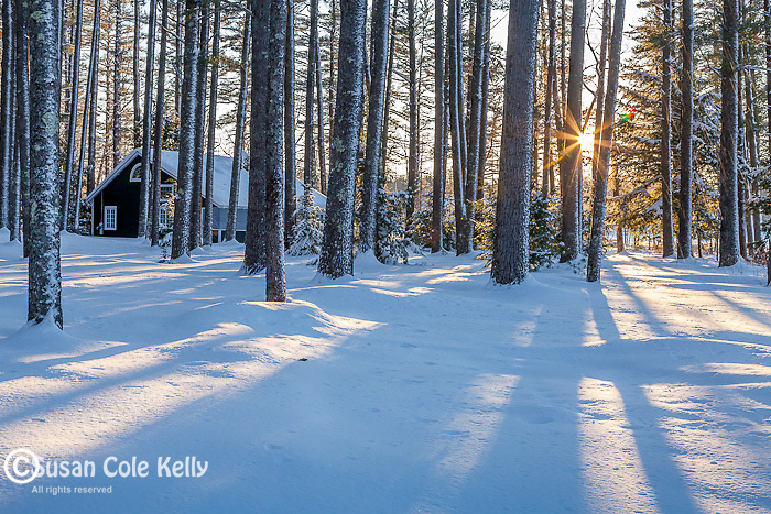Woodland cottages on Kezar Lake in Lovell, ME, USA