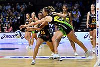 Grace Kara of the Magic and Kelly Jury of the Pulse during the ANZ Premiership Netball - Pulse v Magic at TSB Bank Arena, Wellington, New Zealand on Sunday 30 May 2021.<br /> Photo by Masanori Udagawa. <br /> www.photowellington.photoshelter.com