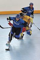 CALI - COLOMBIA - 27-07-2013: Partido de Hockey en Linea entre Colombia y Italia durante los IX Juegos Mundiales Cali, julio 27 de 2013.(Foto: VizzorImage / Luis Ramirez / Staff.) Match of Hockey in Line between Colombia and Italy in the IX World Games Cali July 27, 2013. (Photo: VizzorImage / Luis Ramirez / Staff.)