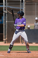 Colorado Rockies center fielder Forrest Wall (7) at bat during an Extended Spring Training game against the San Diego Padres at Peoria Sports Complex on March 30, 2018 in Peoria, Arizona. (Zachary Lucy/Four Seam Images)