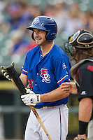 Round Rock Express outfielder Jared Hoying (30) steps into the batters box during the Pacific Coast League baseball game against the Sacramento River Cats on June 19, 2014 at the Dell Diamond in Round Rock, Texas. The Express defeated the River Cats 7-1. (Andrew Woolley/Four Seam Images)