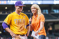 LSU Tigers shortstop Alex Bregman (8) is interviewed by CST reporter Kelsey Wingert after LSU's Houston College Classic game against the Nebraska Cornhuskers on March 8, 2015 at Minute Maid Park in Houston, Texas. LSU defeated Nebraska 4-2. (Andrew Woolley/Four Seam Images)