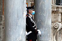 A carabineer on the door of the Senate, where the Italian Prime Minister is about to make the information on the new European Council. Rome (Italy) June 17th 2017<br /> Samantha Zucchi Insidefoto