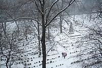 Granary Burying Ground, Boston, MA winter, snow, Boston, MA (view from Boston Athenaeum)