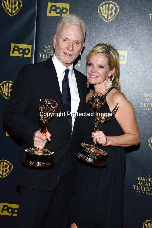 Tony Geary & Maura Wes attends the 42nd Annual Daytime Emmy Awards Press Room on April 26, 2015 at Warner Bros Studio in Burbank, California, USA