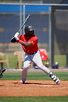 Boston Red Sox Juan Carlos Abreu (37) bats during a Minor League Spring Training game against the Tampa Bay Rays on March 25, 2019 at the Charlotte County Sports Complex in Port Charlotte, Florida.  (Mike Janes/Four Seam Images)
