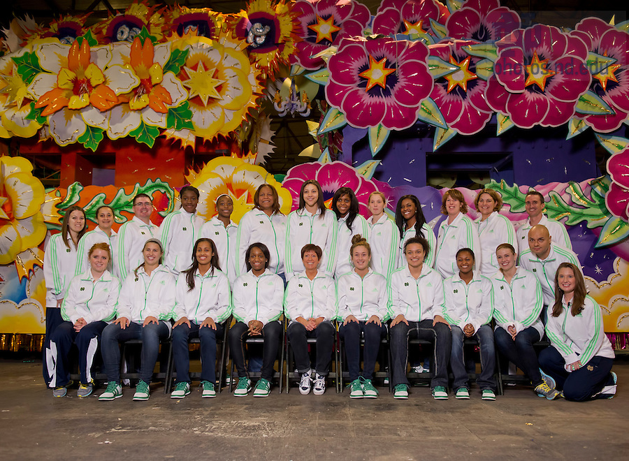 Apr 4, 2013;  The women's basketball team stops for a group photo at Mardi Gras World upon their arrival in New Orleans. Photo by Barbara Johnston/ University of Notre Dame