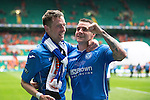 St Johnstone v Dundee United....17.05.14   William Hill Scottish Cup Final<br /> Steven MacLean and James Dunne celebrate at full time<br /> Picture by Graeme Hart.<br /> Copyright Perthshire Picture Agency<br /> Tel: 01738 623350  Mobile: 07990 594431