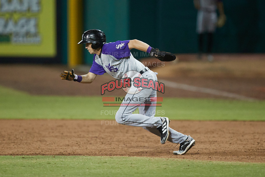 Duke Ellis (11) of the Winston-Salem Dash takes off for second base during the game against the Greensboro Grasshoppers at First National Bank Field on June 3, 2021 in Greensboro, North Carolina. (Brian Westerholt/Four Seam Images)