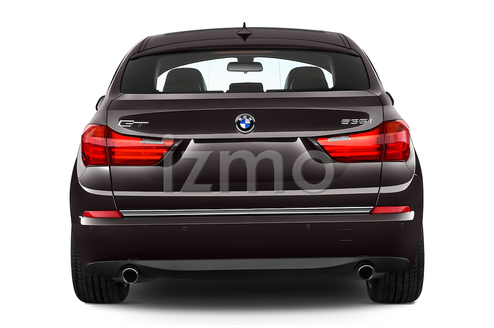 Straight rear view of 2016 BMW 5 Series 535i Gran Turismo Luxury Line 5 Door Hatchback Rear View  stock images