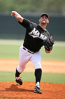 April 14, 2009:  Pitcher Eric Basurto of the Florida Marlins extended spring training team delivers a pitch during a game at Roger Dean Stadium Training Complex in Jupiter, FL.  Photo by:  Mike Janes/Four Seam Images
