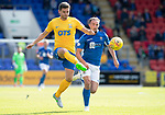 St Johnstone v Kilmarnock…31.08.19   McDiarmid Park   SPFL<br />Alex Bruce beats Chris Kane to the bball<br />Picture by Graeme Hart.<br />Copyright Perthshire Picture Agency<br />Tel: 01738 623350  Mobile: 07990 594431