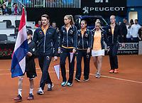 Bratislava, Slovenia, April 22, 2017,  FedCup: Slovakia-Netherlands, seccond rubber : Dutch team walking on court<br /> Photo: Tennisimages/Henk Koster