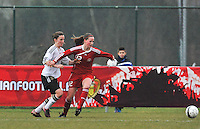 Denmark U17 - Germany U17 : duel met  Nicoline Sorensen (rechts).foto Joke Vuylsteke / Vrouwenteam.be