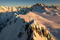 Sunset on Franz Josef Glacier neve with Minarets top right corner, Westland Tai Poutini National Park, West Coast, UNESCO World Heritage Area, New Zealand, NZ