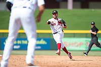 Mesa Solar Sox second baseman Esteban Quiroz (2), of the Boston Red Sox organization, throws to first base during an Arizona Fall League game against the Peoria Javelinas at Sloan Park on October 11, 2018 in Mesa, Arizona. Mesa defeated Peoria 10-9. (Zachary Lucy/Four Seam Images)