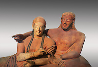 Close up of 6th century BC Etruscan Sarcophagus known as The Sarcophagus of the Spouses, the in sculpted in clay by the sculptors of Caere, 520-510 BC, Louvre Museum, Paris. To license for non editorial Advertising usage contact The Louvre Paris