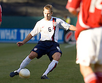 Bryan Namoff kicks the ball. The USA defeated Denmark 3-1 in an International friendly at the Home Depot Center in Carson, CA on January 20, 2007.