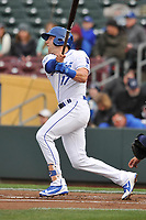 Omaha Storm Chasers third baseman Hunter Dozier (17) swings at a pitch against the Colorado Springs Sky Sox at Werner Park on April 5, 2018 in Omaha, Nebraska. The Sky Sox won 3-1.  (Dennis Hubbard/Four Seam Images)
