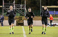 Assistant referee Olivier Jacques, referee Fabio Fernandes Barros and assistant referee Thibaut Hoste warm up before a female soccer game between FC Femina White Star Woluwe and Club Brugge YLA on the eleventh matchday of the 2020 - 2021 season of Belgian Scooore Womens Super League , Friday 22 January 2021  in Woluwe , Belgium . PHOTO SPORTPIX.BE | SPP | SEVIL OKTEM