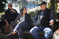 Danny Russell, Reyna Maloy and Albert King recall memories, Friday, October 2, 2020 at the Fayetteville Square in Fayetteville. Check out nwaonline.com/2010010Daily/ for today's photo gallery. <br /> (NWA Democrat-Gazette/Charlie Kaijo)
