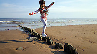 Pictured: Seven year old Sophie Rhian in Swansea Bay in the early evening of Saturday 07 May 2016<br /> Re: Sunshine and high temperatures have been forecast for most of the UK.