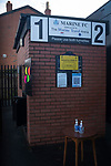 Marine 1 Hyde United 0, 12/12/2020. Marine Travel Arena, FA Trophy First Round. The turnstiles with hand sanitiser waiting for spectators to arrive before Marine play Hyde United in an FA Trophy tie at the Marine Travel Arena, formerly known as Rossett Park, in Crosby. Due to coronavirus regulations which had suspended league games, the Merseysiders' only fixtures were in cup competitions, including their forthcoming tie against Tottenham Hotspur in the FA Cup third round. Marine won the game by 1-0, watched by a permitted capacity of 400, with the visitors having two men sent off in the second half. Photo by Colin McPherson.