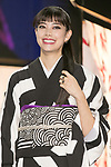 Japanese actress and fashion model Hikari Mori attends the opening ceremony for the KIMONO ROBOTO exhibition at Omotesando Hills on November 30, 2017, Tokyo, Japan. The exhibition features 13 kimonos created by experts using traditional methods and a humanoid robot dressed in traditional kimono performing in the middle of the hall. The exhibition runs til December 10. (Photo by Rodrigo Reyes Marin/AFLO)
