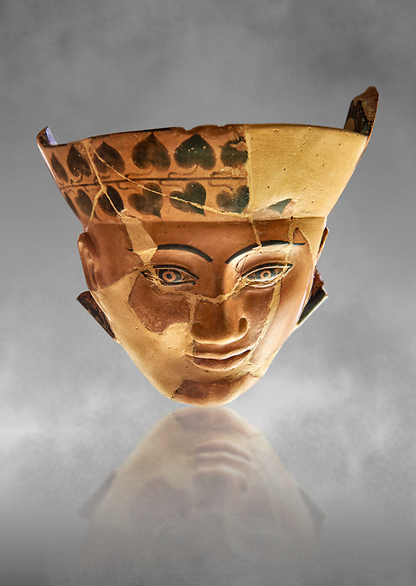 An Etruscan Dinos ( style of vase) with a face, from the Group of Dinoi Campana Ribbon Painter,  540-520 B.C. inv 3784, National Archaeological Museum Florence, Italy , grey art background