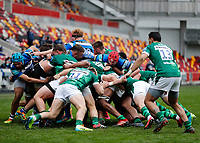 27th March 2021; Brentford Community Stadium, London, England; Gallagher Premiership Rugby, London Irish versus Bath; London Irish and Bath players during the scrum