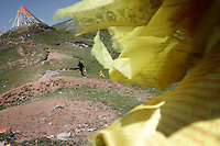 Tibetan prayer flags on top of a hill on the Qinghai-Tibetan Plateau, Qinghai Province. China. 2010
