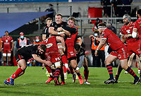 Sunday 22nd November 2020 | Ulster vs Scarlets<br /> <br /> Kieran Treadwell is tackled by Jac Morgan and Tyler Morgan during the Guinness PRO14 Round 7 clash between Ulster Rugby and Scarlets at Kingspan Stadium, Ravenhill Park, Belfast, Northern Ireland. Photo by John Dickson / Dicksondigital