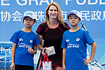 Steffi Graf of Germany, the global ambassador of Zhuhai WTA Elite Trophy 2017, poses for photo with children during the tennis clinic at plaza of Zhuhai International Convention and Exhibition Centre on November 04, 2017 in Zhuhai, China. Photo by Yu Chun Christopher Wong / Power Sport Images