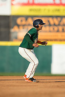 Justin Twine (1) of the Greensboro Grasshoppers takes his lead off of second base against the Hickory Crawdads at L.P. Frans Stadium on May 6, 2015 in Hickory, North Carolina.  The Crawdads defeated the Grasshoppers 1-0.  (Brian Westerholt/Four Seam Images)