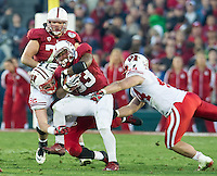 PASADENA, CA - January 1, 2013: Stanford Cardinal vs the Wisconsin Badgers in the 2013 Rose Bowl Game in Pasadena, California. Final score Stanford 20, Wisconsin 14.