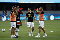 SAN JOSE, CA - SEPTEMBER 19: Portland Timbers players including Tomas Conechny #19 during warmups before a game between Portland Timbers and San Jose Earthquakes at Earthquakes Stadium on September 19, 2020 in San Jose, California.